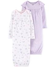 6fce98307 Carter's Baby Girls 2-Pk. Printed Cotton Sleeper Gowns