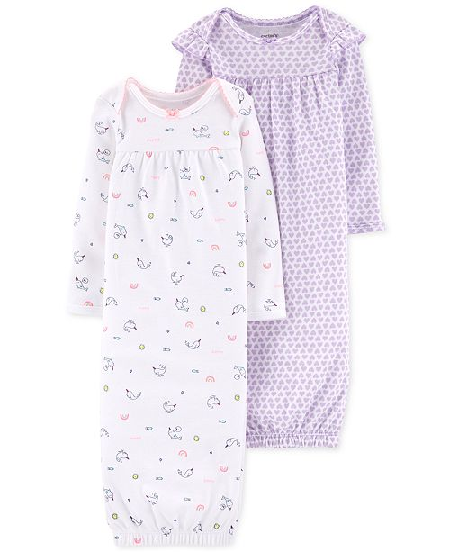Carter's Baby Girls 2-Pk. Printed Cotton Sleeper Gowns