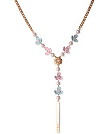 "GUESS Gold-Tone Imitation Pearl Floral Lariat Necklace, 26"" + 2"" extender"