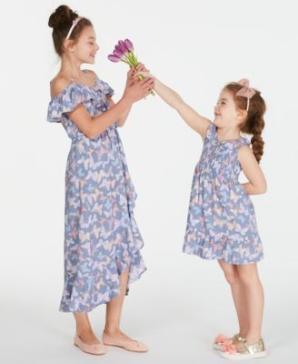 Big Girls Ruffle-Trim Butterfly-Print Maxi Dress, Created for Macy's