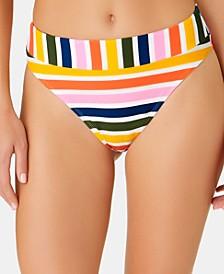 Juniors' Baja Striped High-Waist High-Leg Bottoms, Created for Macy's