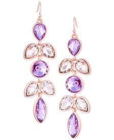 GUESS Rose Gold-Tone Crystal Drop Earrings