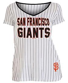 Women's San Francisco Giants Pinstripe V-Neck T-Shirt