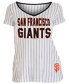 5th & Ocean Women's San Francisco Giants Pinstripe V-Neck T-Shirt