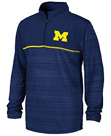 Colosseum Big Boys Michigan Wolverines Striped Mesh Quarter-Zip Pullover