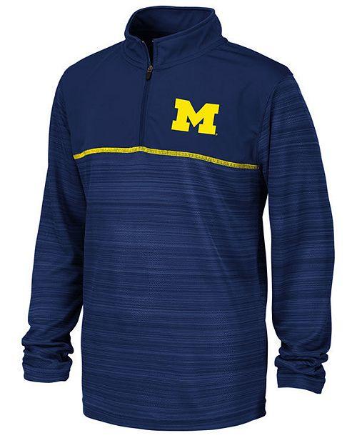 Colosseum Big Boys Michigan Wolverines Striped Mesh Quarter-Zip Pullover