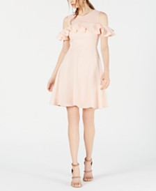 French Connection Alissa Cold-Shoulder Fit & Flare Dress
