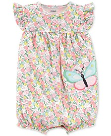 58e10fe17b64 Carter s Baby Girls Cotton Floral-Print Butterfly Romper