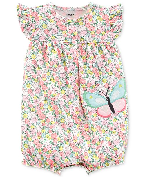 0bfd6006b60 Carter s Baby Girls Cotton Floral-Print Butterfly Romper - All Baby ...