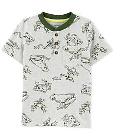 Toddler Boys Frog-Print Cotton Henley T-Shirt