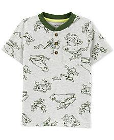 Carter's Toddler Boys Frog-Print Cotton Henley T-Shirt