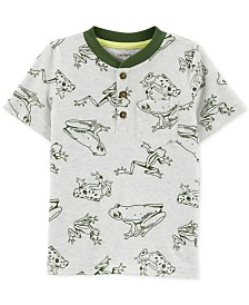 Carter's Toddler Boys Frog-Print Cotton Henley T-Shirt