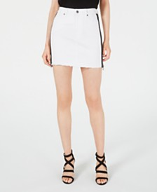 Kendall + Kylie Zippered-Side Frayed-Hem Skirt