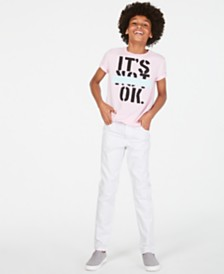 Epic Threads Big Boys It's Not Ok T-Shirt & Stretch White Jeans, Created for Macy's