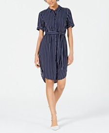 Maison Jules Striped Belted Shirtdress, Created for Macy's