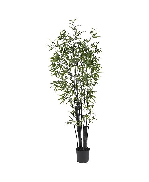 Nearly Natural 6' Black Faux Silk Tree - 2 Thick Trunks