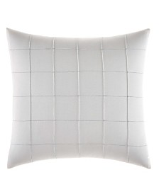 Vera Wang Shibori Grid White Pin Tuck Plaid Square Pillow