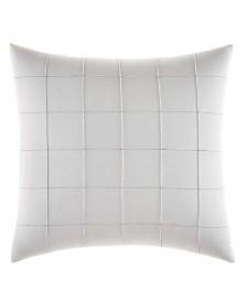 Vera Wang Shibori Grid White Pin Tuck Plaid Square Pillow