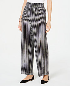 JM Collection Petite Striped Wide-Leg Pants, Created for Macy's