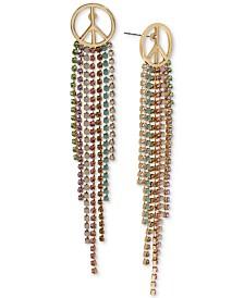 BCBGeneration Gold-Tone Peace Sign & Multicolor Pavé Fringe Drop Earrings