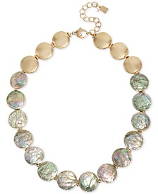 "Robert Lee Morris Soho Gold-Tone Black Mother-of-Pearl Disc Collar Necklace, 18"" + 3"" extender"