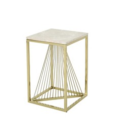 Arvid Modern Faux Marble Accent Table, Quick Ship