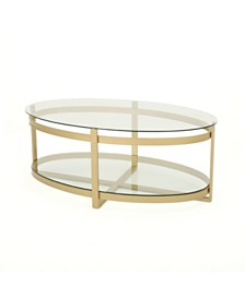 Plumeria Tempered Glass Coffee Table, Quick Ship