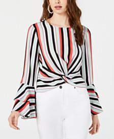 Bar III Striped Flared-Sleeve Top, Created for Macy's