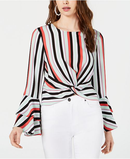 Bar III Striped Flared-Sleeve Top, Created for Macy's