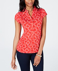 Charter Club Petite Chain-Print Polo Shirt, Created for Macy's