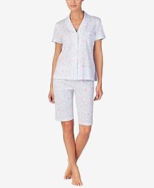 Lauren Ralph Lauren Printed Knit Cotton Notch Collar Top and Bermuda Shorts Pajama Set