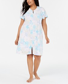 Miss Elaine Plus Size Printed Micro-Terry Zip Robe