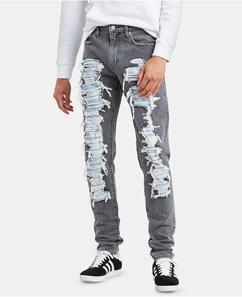 Levi's Men's Heavily Ripped Tapered Fit Stacked Jeans