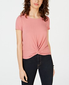 Hippie Rose Juniors' Twist-Front Rib-Knit Top
