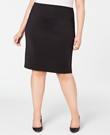 I.N.C. Plus Size Solid Scuba Pencil Skirt, Created for Macy's