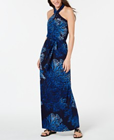 MICHAEL Michael Kors Printed Tie-Neck Halter Maxi Dress