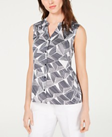 Nine West Printed Sleeveless Blouse