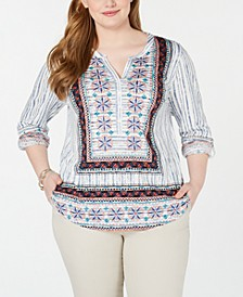 Plus Size Printed Roll-Tab Top, Created for Macy's