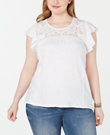 Style & Co Plus Size Cotton Lace-Yoke Cap-Sleeve Top, Created for Macy's