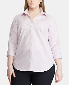 Lauren Ralph Lauren Plus Size Stripe-Print Shirt
