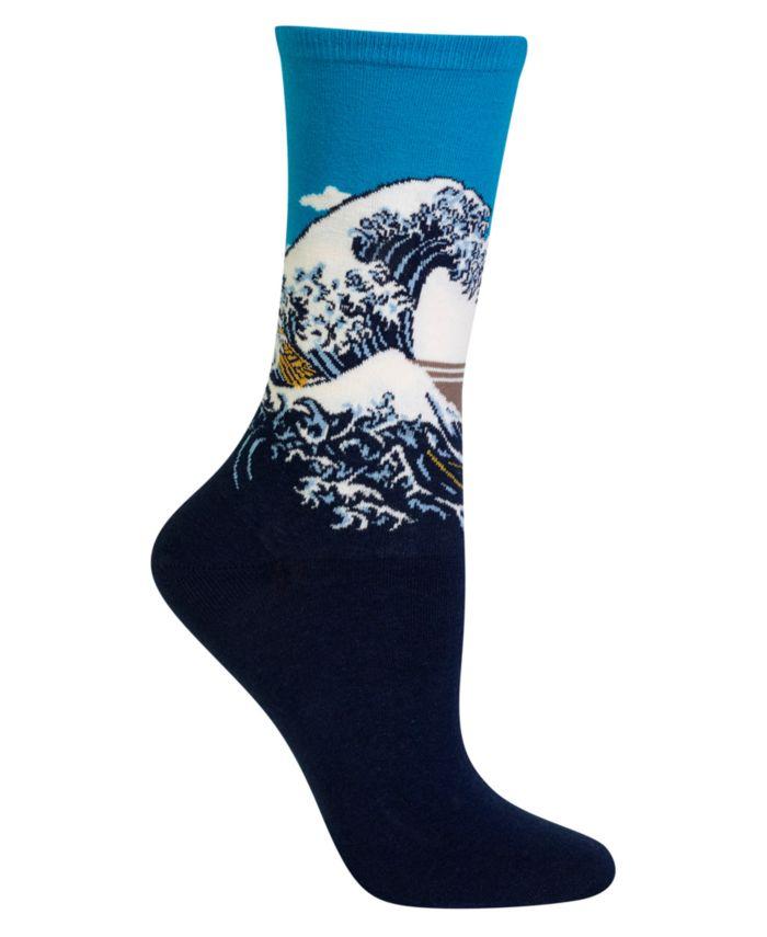 Hot Sox Women's Hokusai's Great Wave Fashion Crew Socks & Reviews - Handbags & Accessories - Macy's