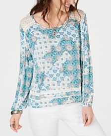 Style & Co Crochet-Trim Bubble-Hem Top, Created for Macy's