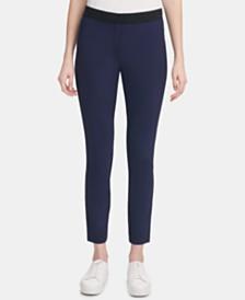 Calvin Klein Contrast-Waist Skinny Pants