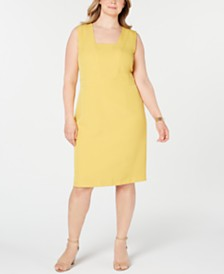 Kasper Plus Size Modified Square-Neck Dress