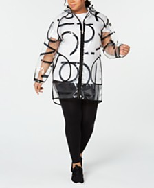Calvin Klein Performance Plus Size Logo Rain Jacket