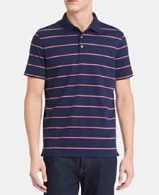 Calvin Klein Men's Slim-Fit Double Micro-Bar Stripe Liquid Touch Polo Shirt