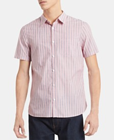 Calvin Klein Men's Classic-Fit Space-Dyed Stripe Shirt