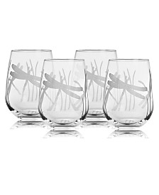 Rolf Glass Dragonfly Stemless Wine Tumbler 17Oz - Set Of 4 Glasses