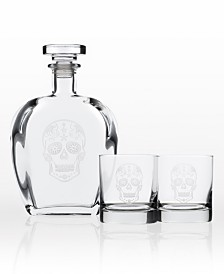 Rolf Glass Sugar Skull 3 Piece Gift Set - Whiskey Decanter And Rocks Glasses