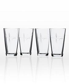Fly Fishing Pint Glass 16Oz - Set Of 4 Glasses